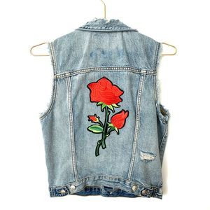 H&M &Denim Rose Patch Distressed Denim Jean Vest